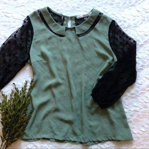 Modcloth Sage and Polka dot black mesh sleeve top